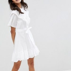ASOS high neck mini dress with ruffle front
